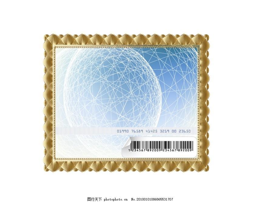 金色画框矢量素材 相框 条形码 球面 线条 贴纸 卷角 边框相框