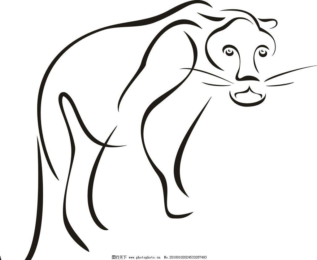 素描 矢量 动物 虎 动物素描 家禽家畜 生物世界 cdr