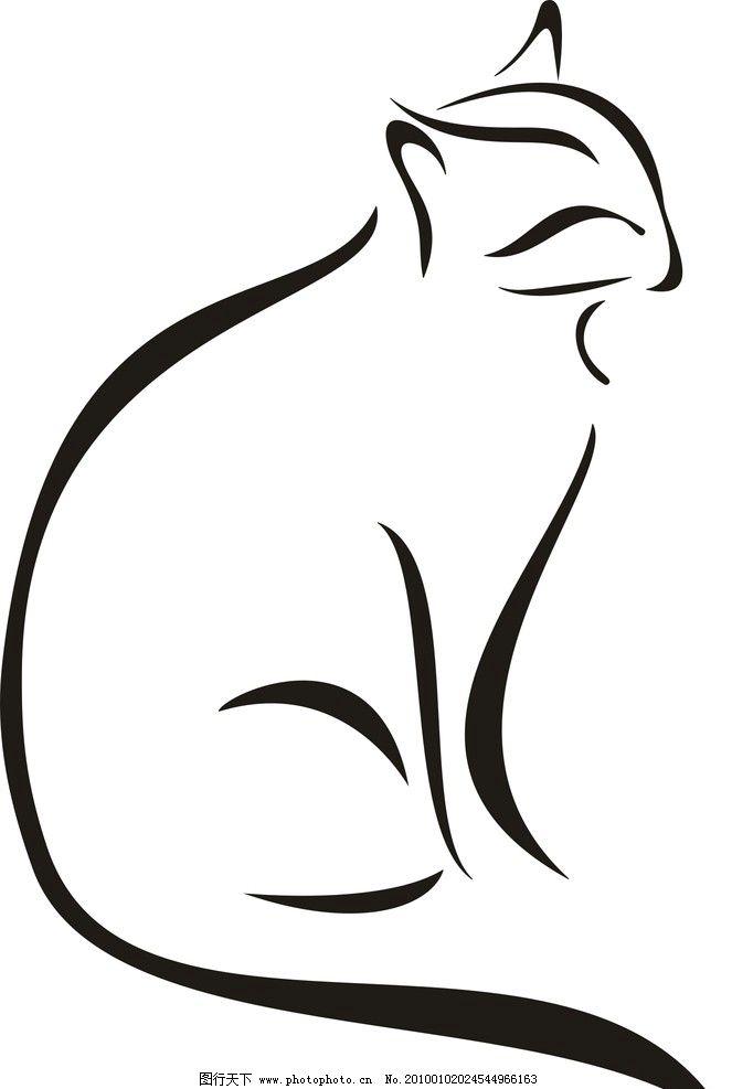 素描 矢量 动物 猫 动物素描 家禽家畜 生物世界 cdr