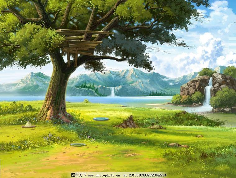 手绘游戏场景风景 大树 瀑布 草地 湖泊 源文件