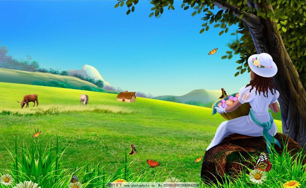 可爱小孩图唯美风景图树的图片