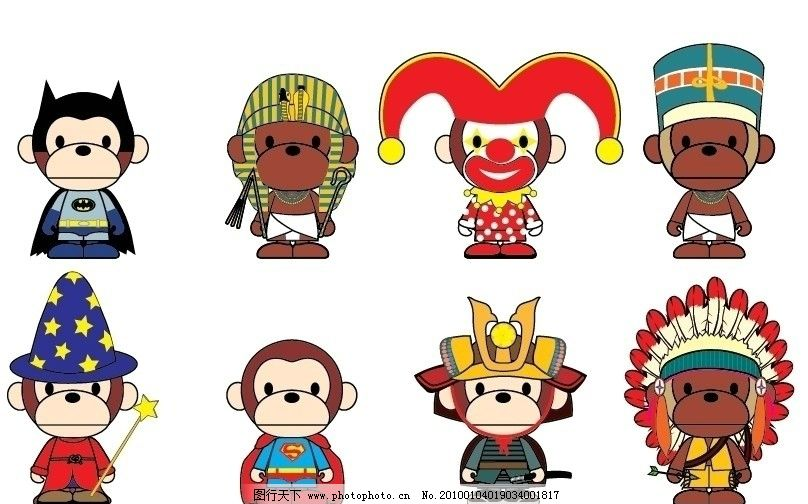 公仔猴子 可爱 不同国家 民族风情 美术绘画 文化艺术 矢量