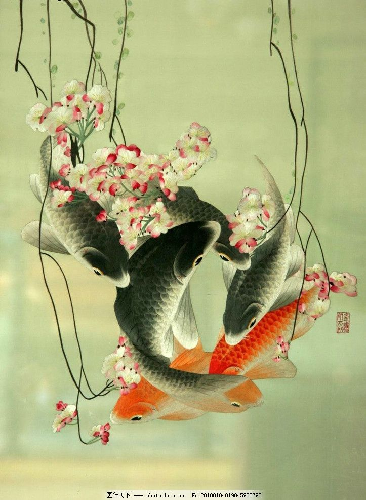 刺绣 工笔 水墨绘画 写意 国画 建筑 传统纹样 风景 花卉 鲤鱼 工艺品