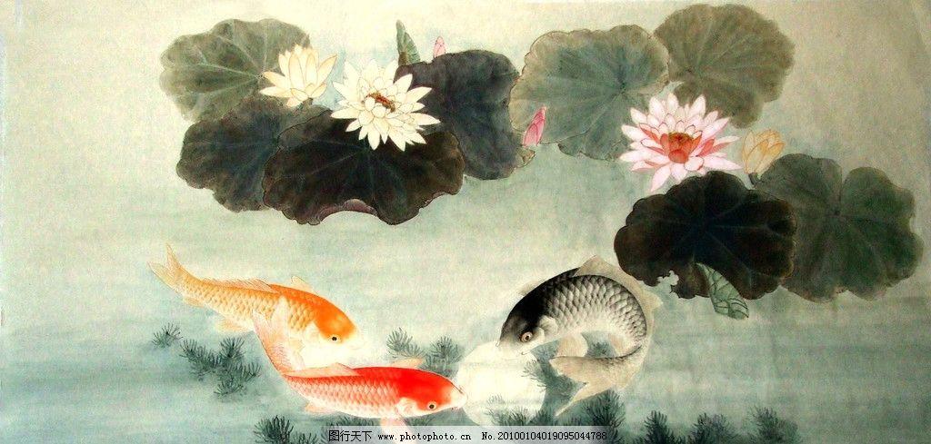 连年有余 工笔 水墨绘画 写意 国画 建筑 传统纹样 风景 荷花 鲤鱼