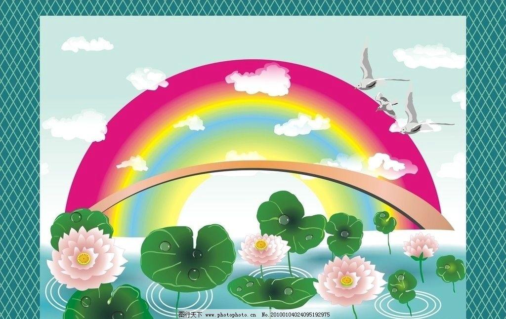 白云 涟漪 水纹 水面 鼠绘 自然风景 水墨画 中国画 自然景观 矢量