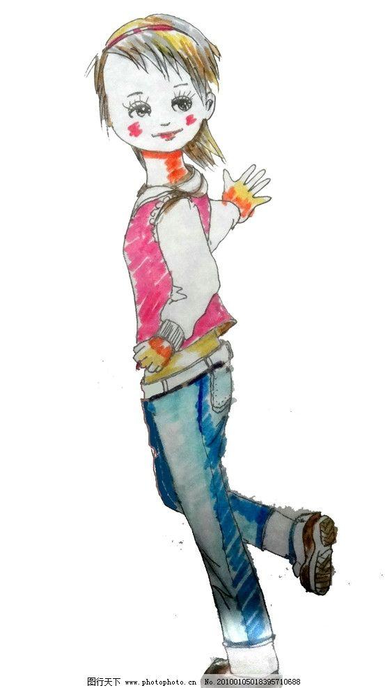 小姑娘 漫画 青春 活力 运动 手绘 动漫人物 动漫动画 设计 72dpi jpg