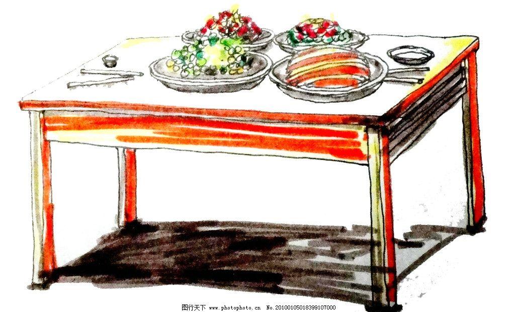 餐桌 菜 桌子 手绘 酒菜 动漫人物 动漫动画 设计 72dpi jpg