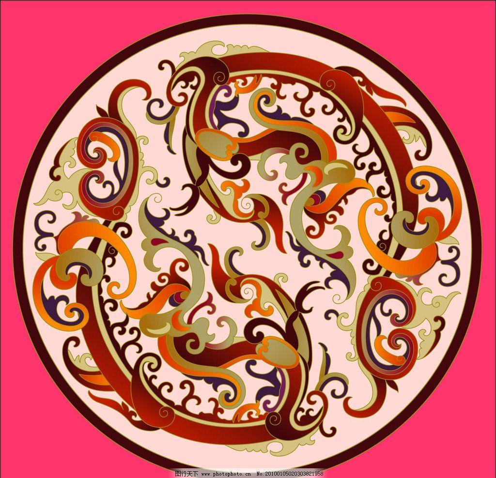 龙凤 吉祥图腾 寺庙彩绘图腾 花边 花框 背景压花素材 花边花纹 底纹