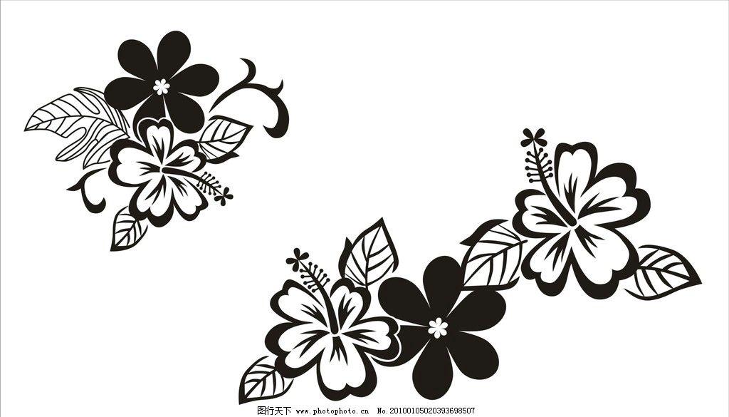 花 单色花 线条花 边角花 墙壁装饰花 花边角 花纹花边 底纹边框 矢量