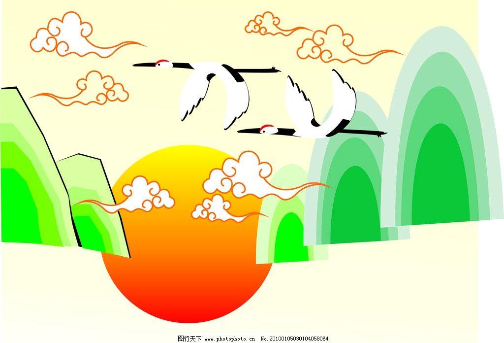 海鸥飞过 山 祥云 太阳 移门图 矢量