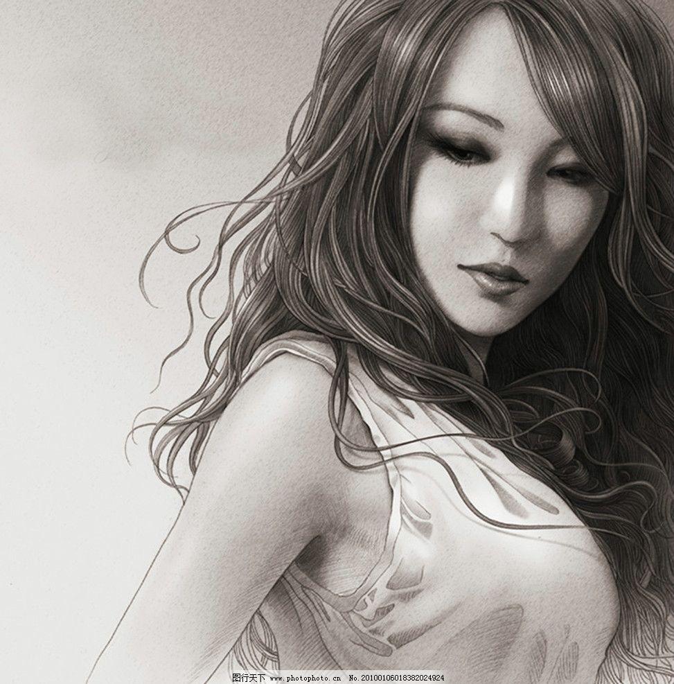 素描 美女 性感 铅笔画 艺术 女王 绘画 人物 铅笔图片图片