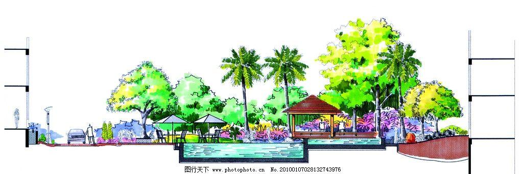 手绘立面图 园林设计 景观设计 园林设计效果图 植物 游泳池 亭子 木