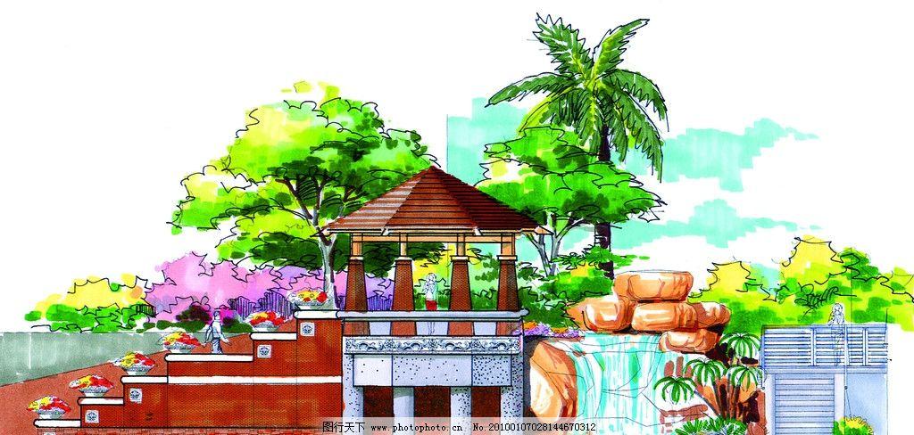手绘景观立面图 景观设计 园林设计效果图 园林设计立面图 植物 假山
