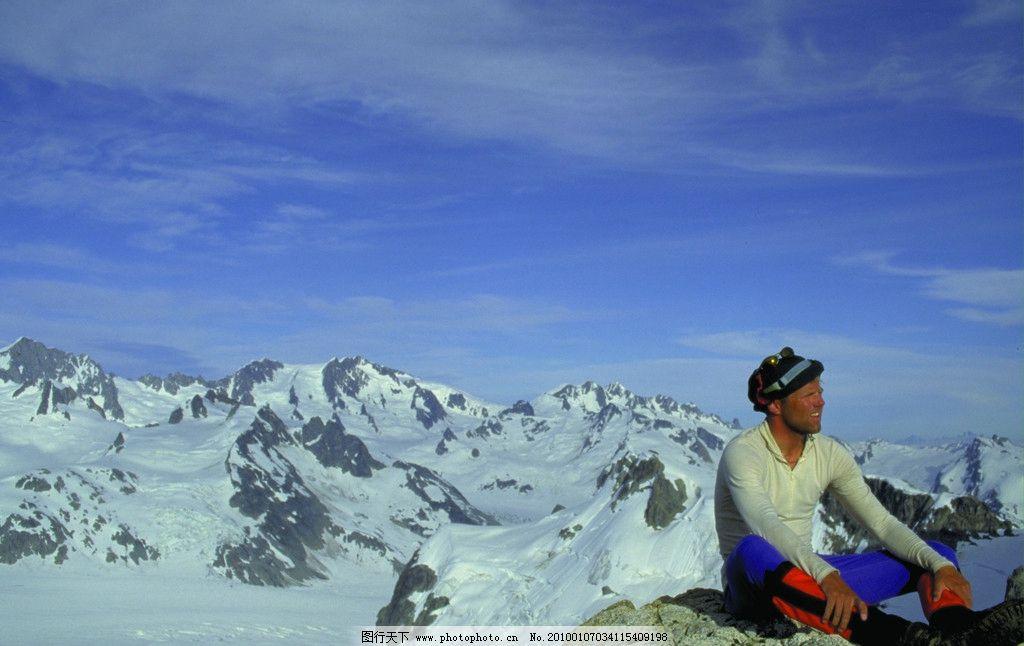 登山运动 国外风光 雪山 登山人 高山 山顶 自然风景 旅游摄影