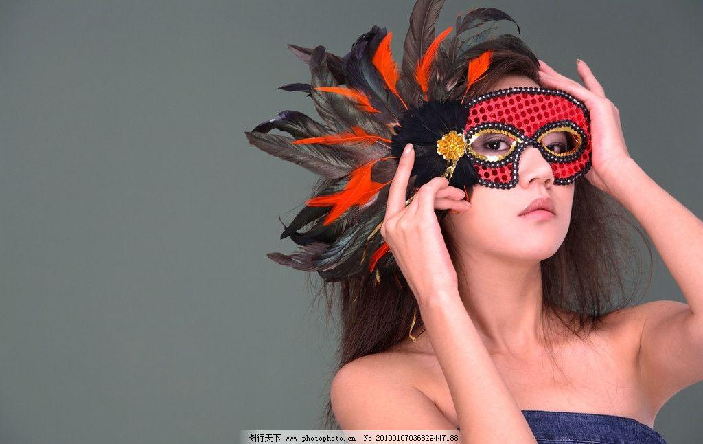 带面具的女孩图片