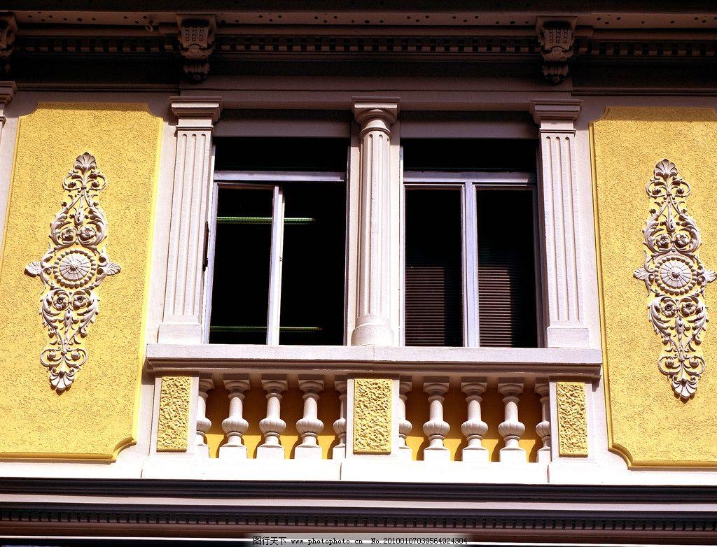窗户 雕花 欧式 立柱 园林建筑 建筑园林 摄影