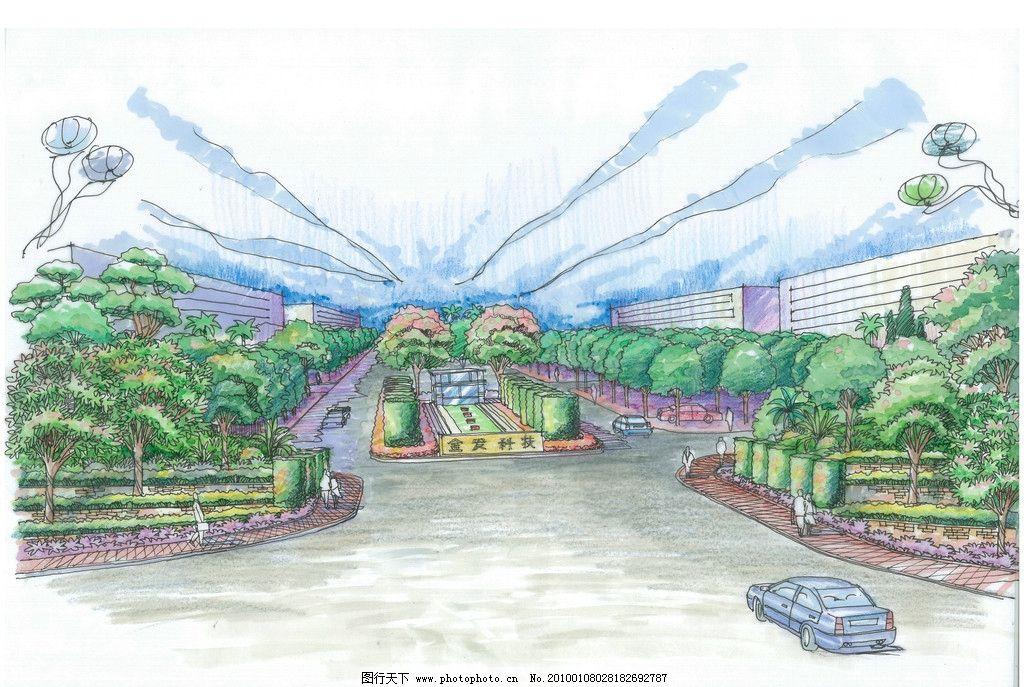 景观鸟瞰手绘 景观 鸟瞰 手绘 入口 景观设计 环境设计 设计 300dpi