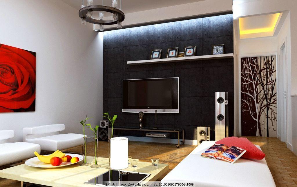 客厅餐厅设计效果图 电视背景墙 沙发 茶几 隐形门等 室内设计 环境