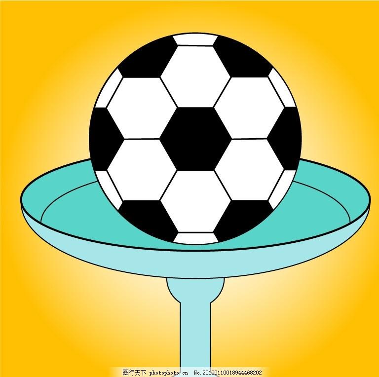 足球 足球杯 盘子 盘中足球 黑白足球 体育运动 文化艺术 矢量 ai