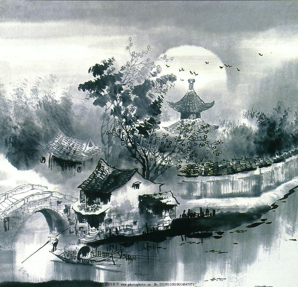 枫桥夜泊 水乡 国画 风景 江南水乡国画 绘画书法 文化艺术
