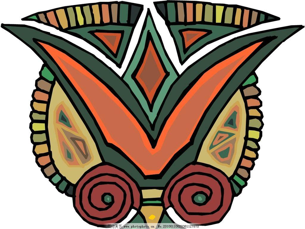 复古花边 面具 埃及面具 猫头鹰 土著人 民族面具 民族花边 花边花纹