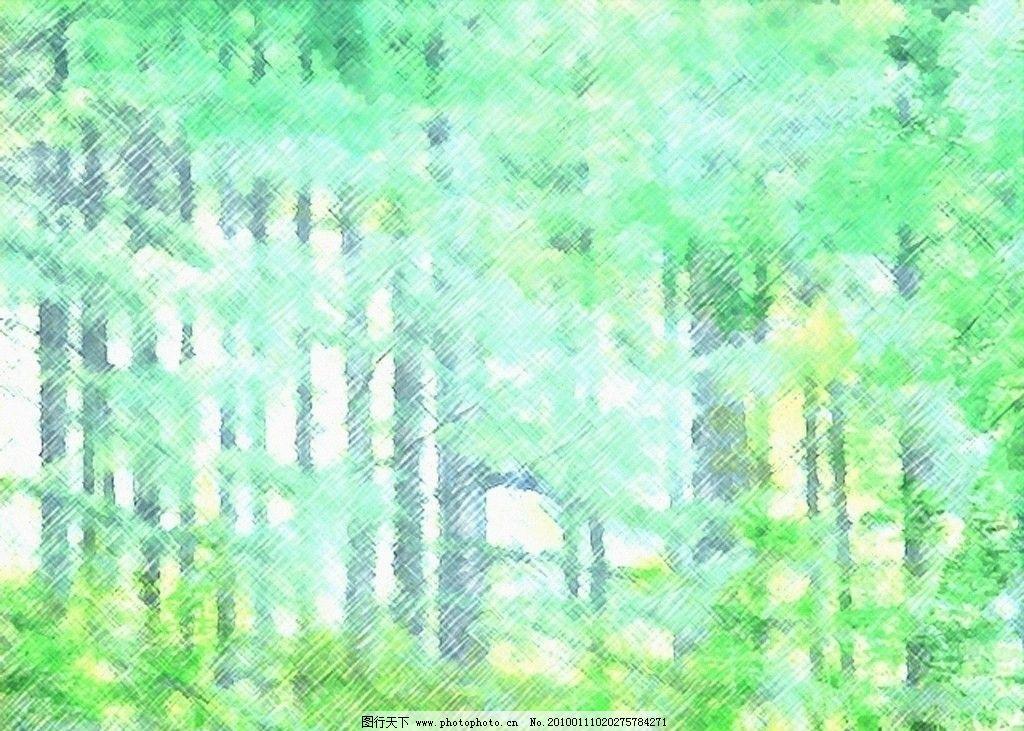 水墨画 绿色 抽象树 抽象草 泼墨意境 背景底纹 底纹边框