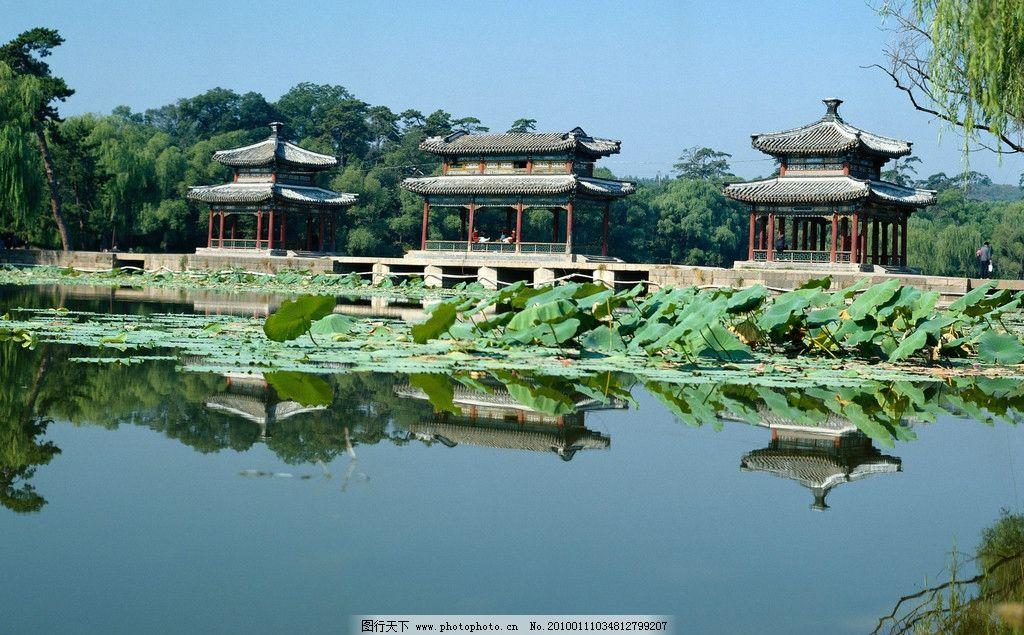 风景山水画 亭子 湖 树 自然风景 自然景观 摄影 300dpi jpg