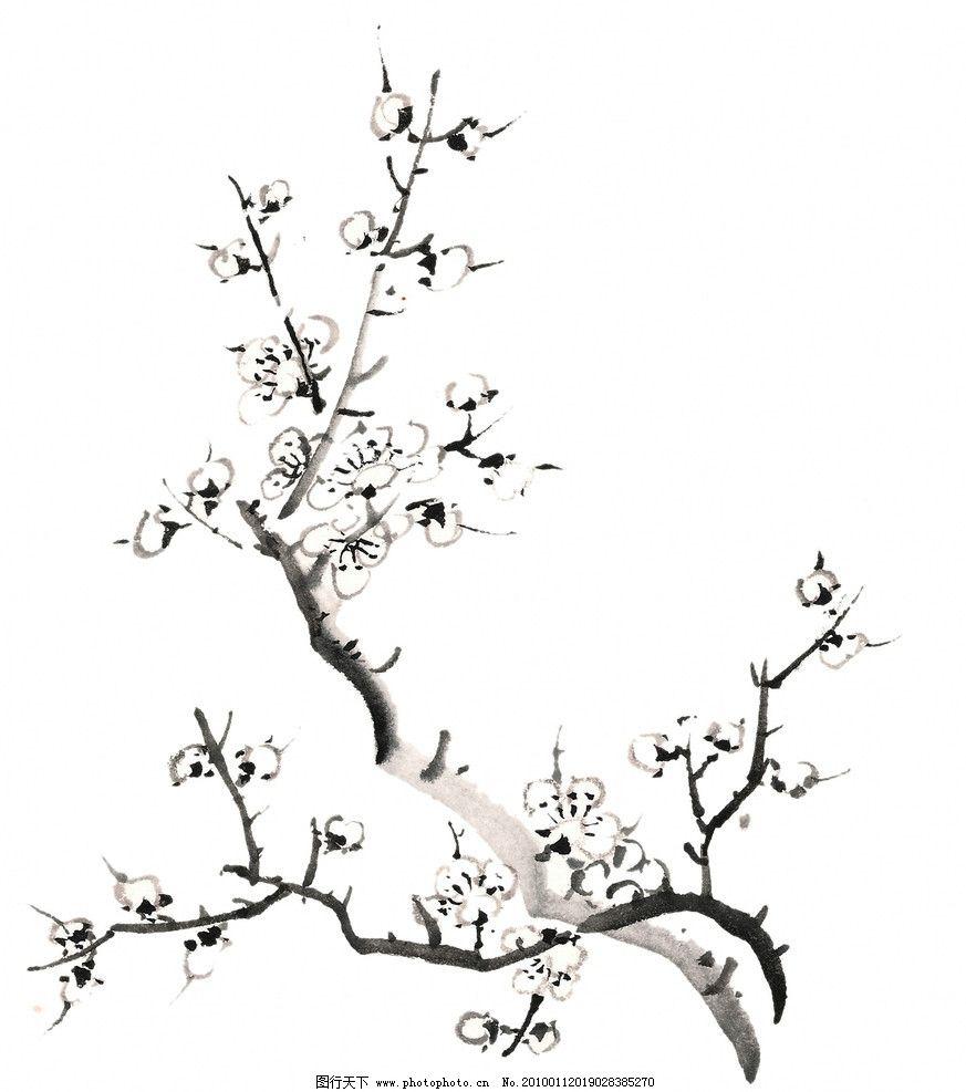 设计图库 设计元素 纹理边框  水墨桃花 桃花 花朵 花卉 国画 水墨