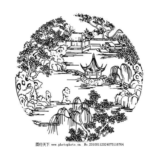 装饰 苏州 江南 假山 亭台 楼阁 流水 柳树 风景名胜 自然景观 矢量 c