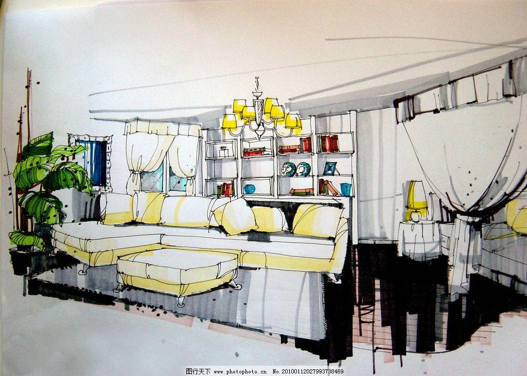 室内设计手绘效果图 室内      沙发 植物 设计 手绘        室内设计
