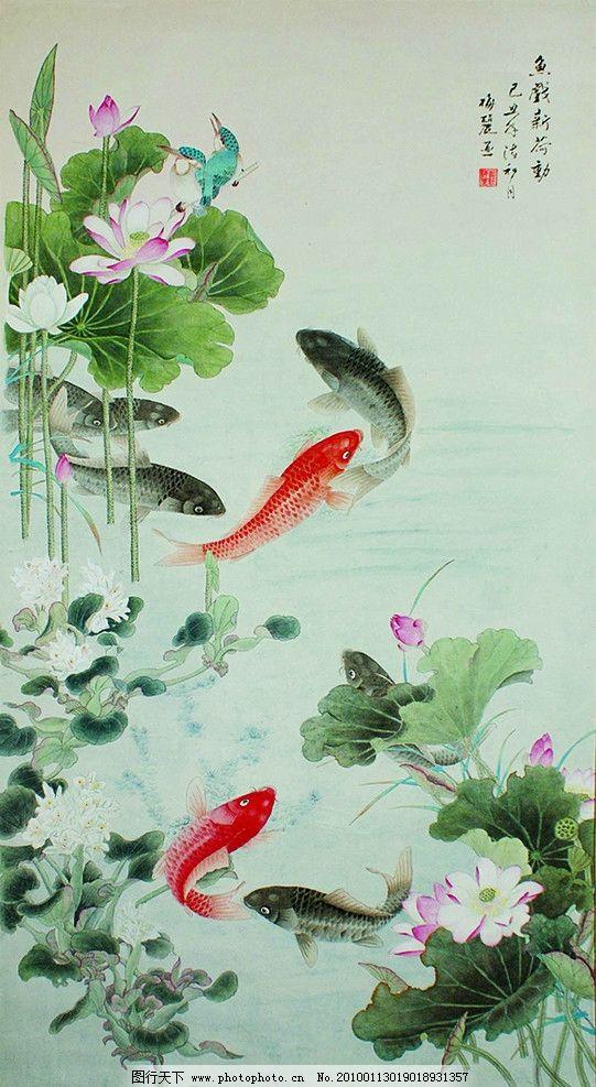 鱼戏新荷 鲤鱼 荷花 工笔画 小鸟 红色鲤鱼 戏水 荷叶