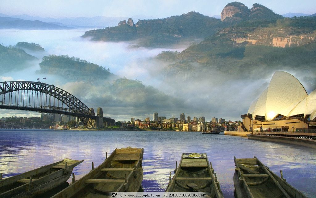 合成美景 风景 背景 古代与现代结合 山水风景 大桥 古船 山 雾 大气