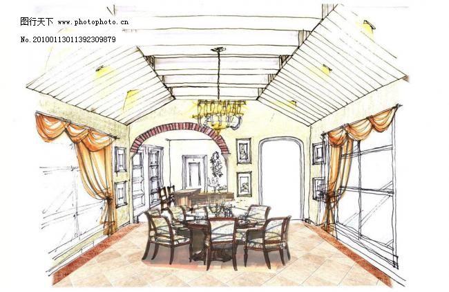 室内设计手绘效果图图片_室内设计_装饰素材_图行天下