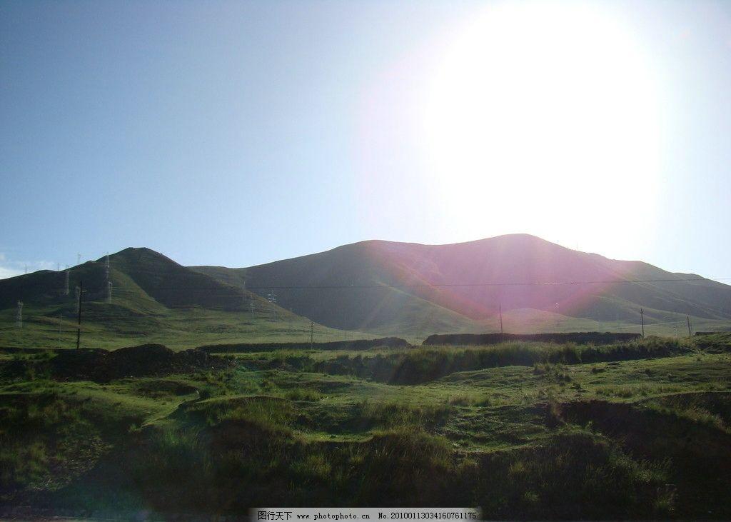 大山 西北风景 阳光 绿 大自然 旅游摄影