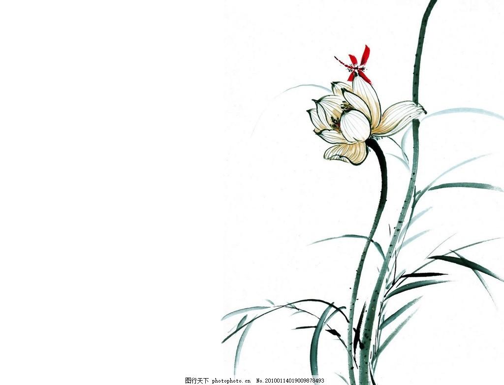 水墨蜻蜓戏荷 水墨画 绘画书法 文化艺术 设计 72dpi jpg