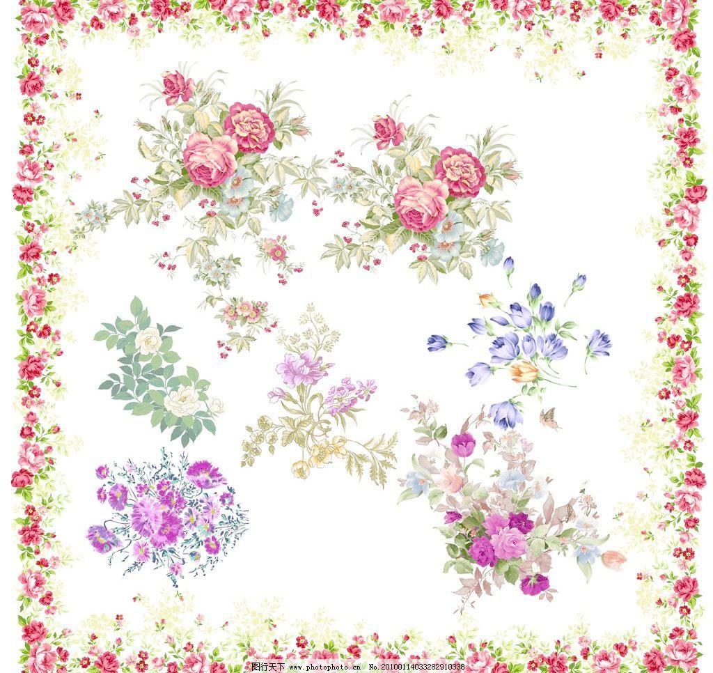 卉花纹4 百合花 雏菊花 丁香花 桂花 荷花 玫瑰 蒲公英 爱丽斯花