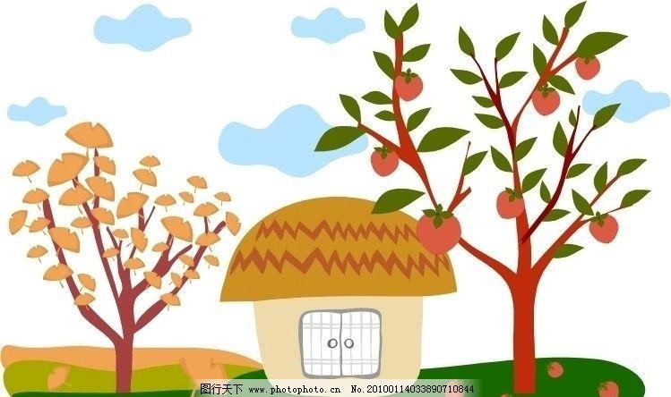 矢量房子 树 房子 大树 白云 卡通 矢量 果树 银杏树 矢量素材 其他矢
