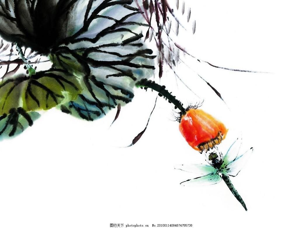 水墨蜻蜓 水墨画 绘画书法 文化艺术