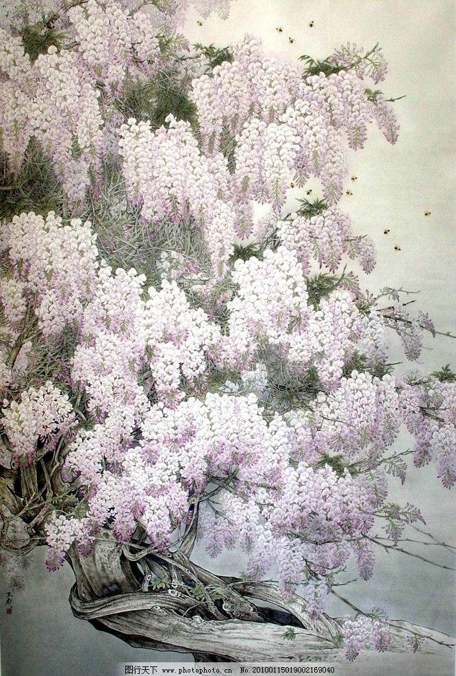 紫藤 工笔 国画 绘画 古典 山水 动物 花鸟 写意 中国风 绘画书法