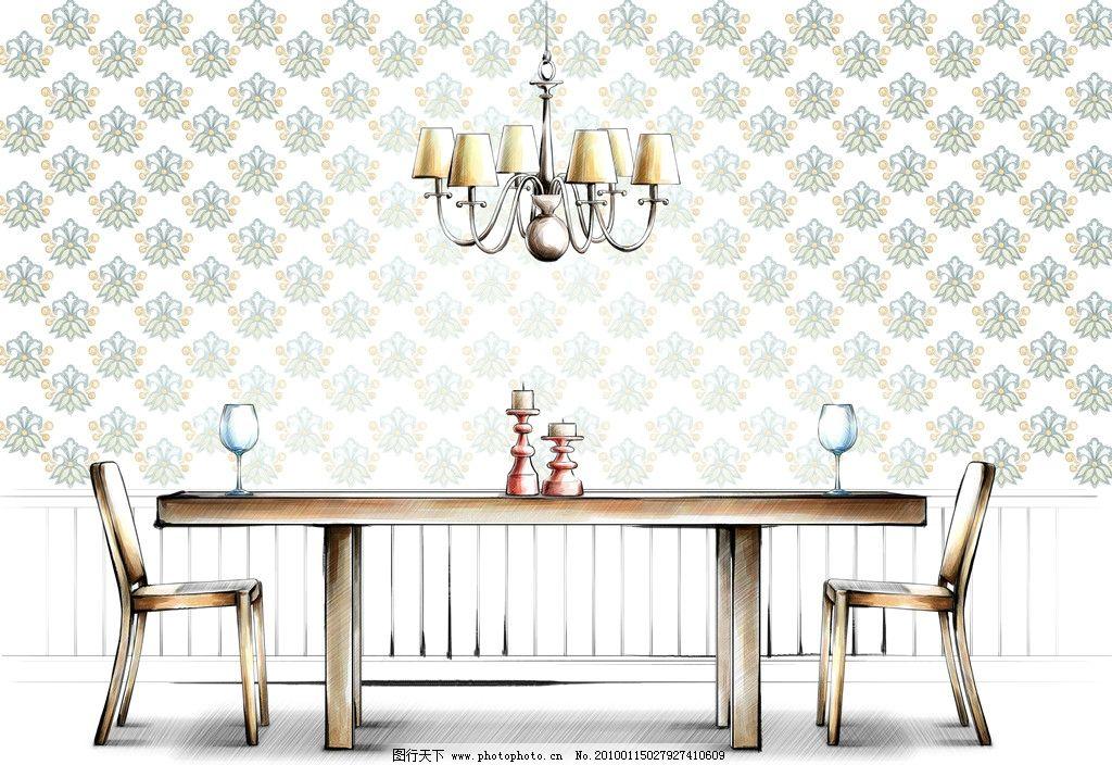 手绘 室内 餐桌 吊灯 烛台 酒杯 餐桌椅 清新 插画 时尚 摆设 装饰