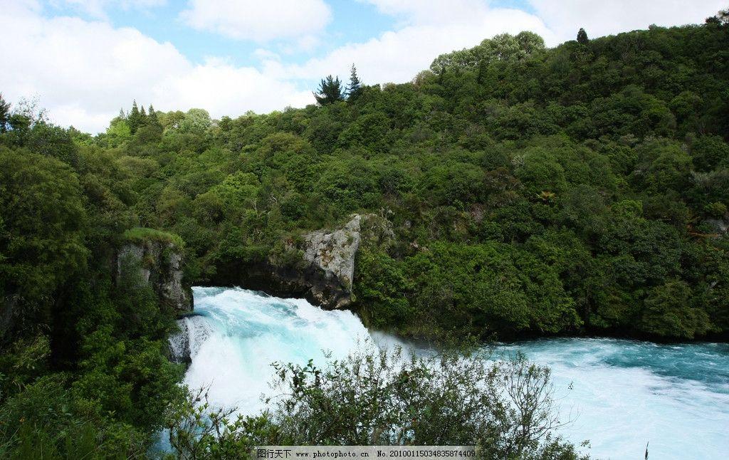 河流 树林 天空 白云 自然风景 自然景观 摄影 72dpi jpg