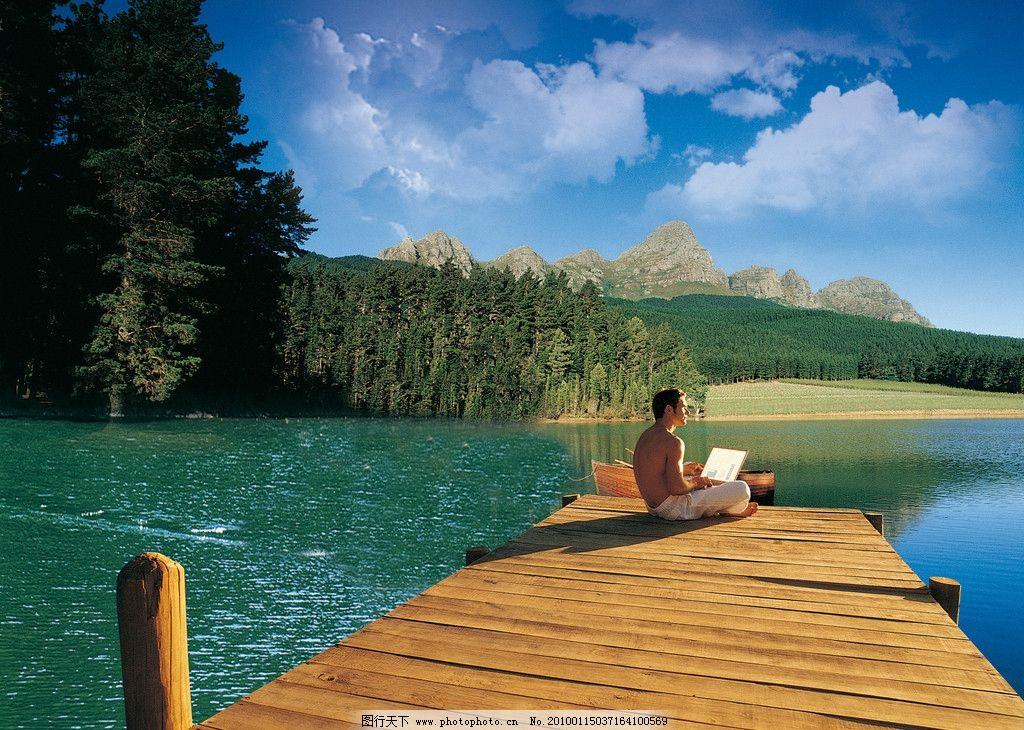 户外景观 摄影图库 自然景观 自然风景 湖泊 山水 人物 电脑
