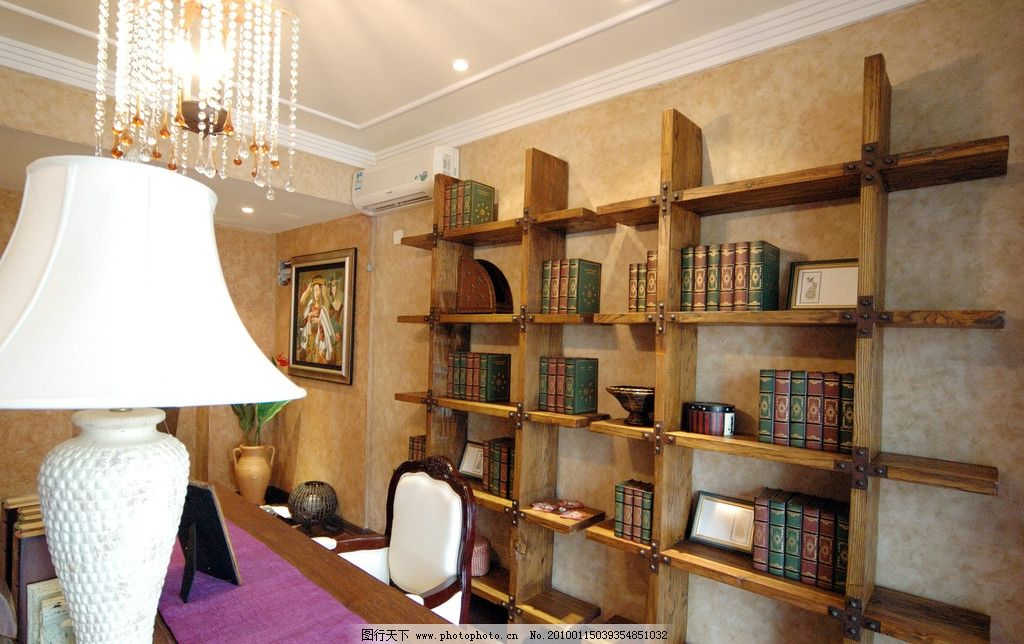 室内设计实景照片资料 室内 欧式 书房 书柜 设计 实景 室内摄影 建筑图片