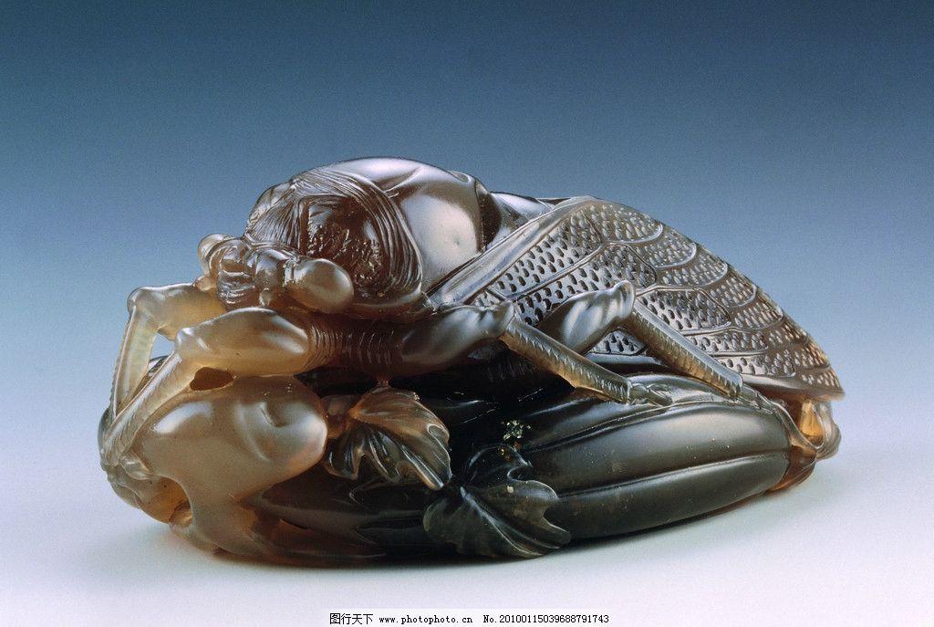 玉雕 工艺美术 雕刻工艺 石雕艺术 翡翠雕刻 动物图案 昆虫 植物图案
