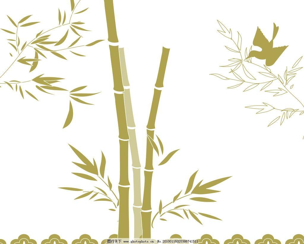 竹报平安 绿色竹子 鸟儿 绿色叶子 花边花纹 底纹边框 设计 72dpi jpg