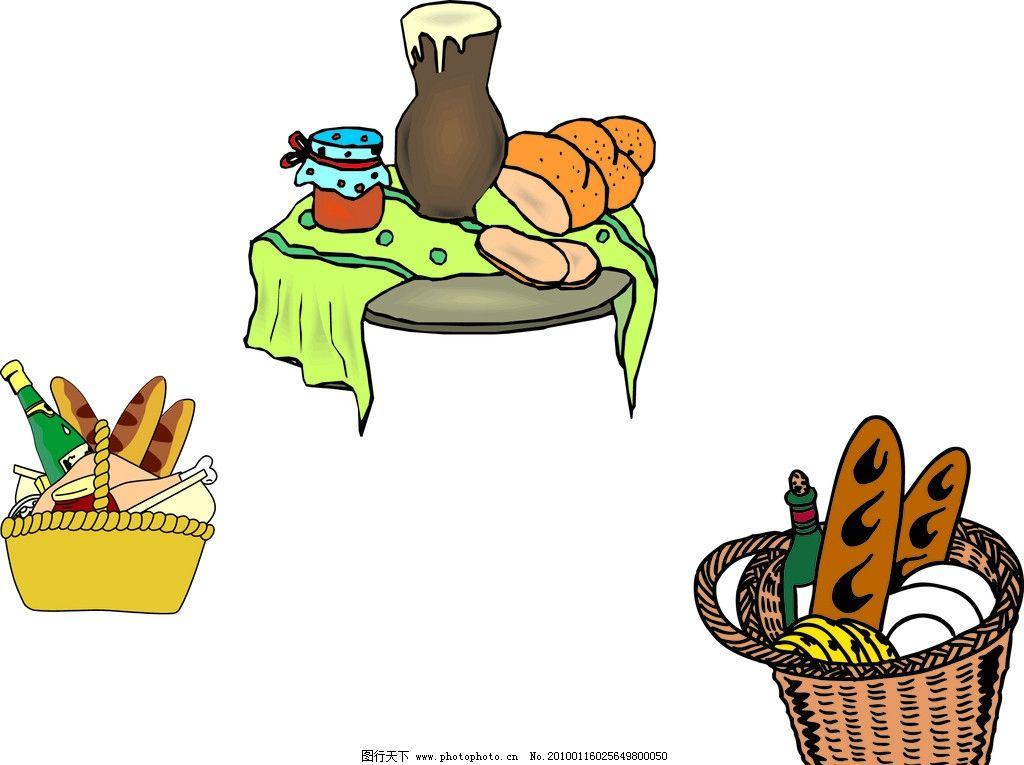 面包食品 面包 篮子 餐桌 蜂蜜 餐饮美食 生活百科 矢量 ai