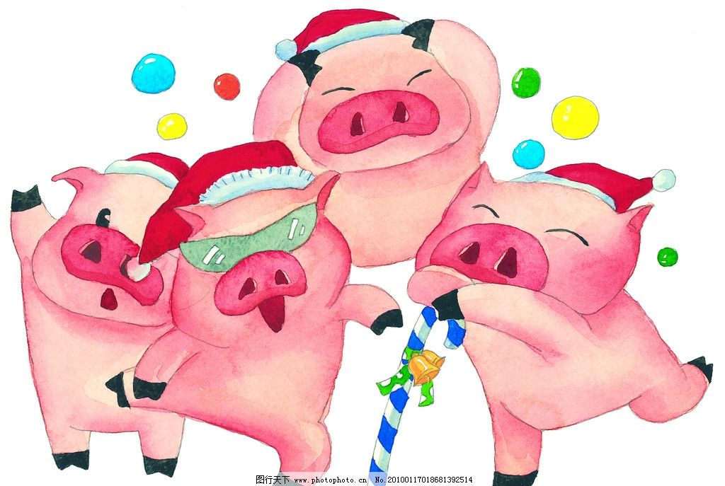 手绘水彩小猪快乐的圣诞节图片