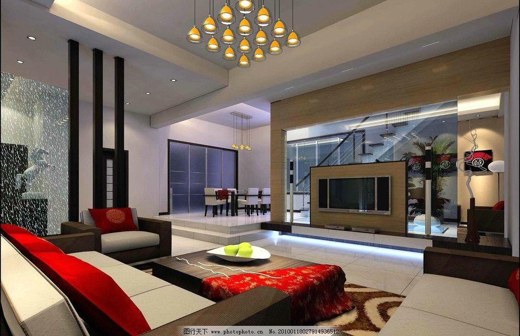 室内设计效果图资料 客厅 沙发 壁画