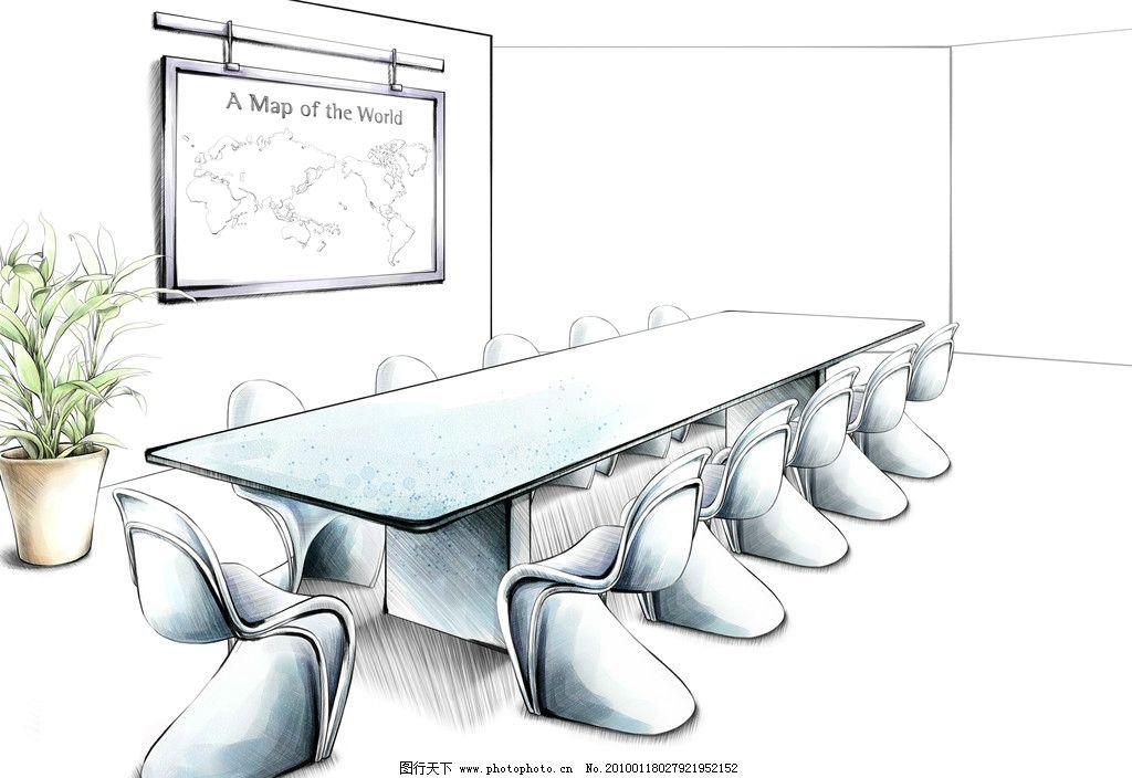 手绘 室内 植物 会议室 会议桌 桌椅 办公 清新 插画 时尚