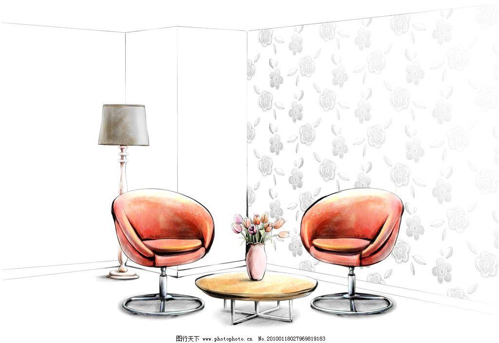 手绘 室内 椅子 沙发椅 转椅 墙纸 花瓶 郁金香 灯具 清新 插画 时尚